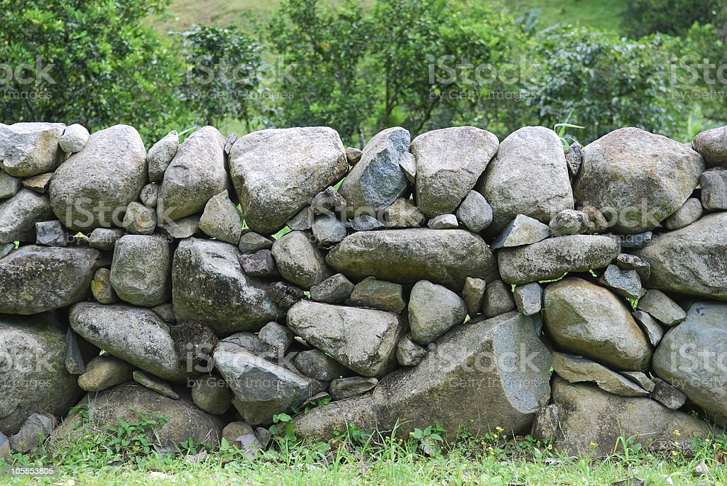 Stone Wall in Field royalty-free stock photo