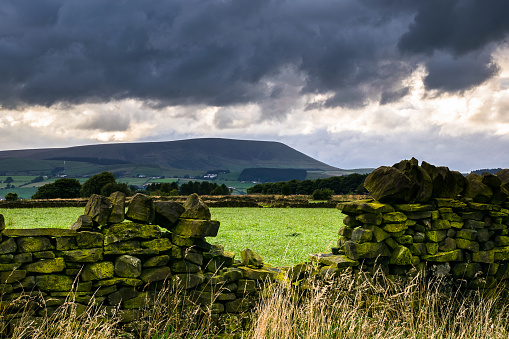 Stone wall on a farm in distance Pendle Hill