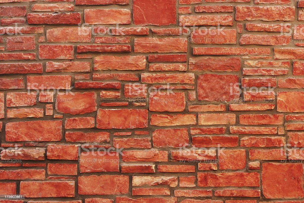 Stone Wall Red Rock Construction Material royalty-free stock photo