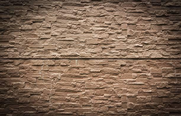 Mur kamienny tekstura brązowy tle rustykalnym – zdjęcie