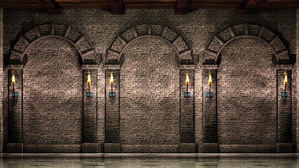 stone wall with arches - castle stock pictures, royalty-free photos & images
