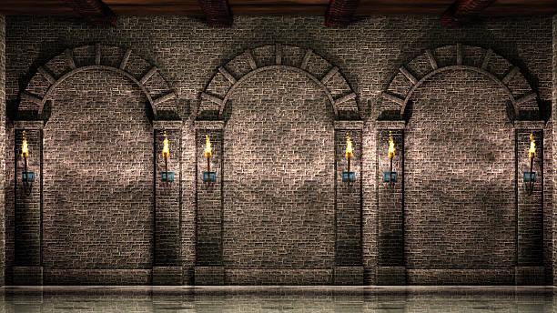 parede de pedra com arcos - castelo - fotografias e filmes do acervo