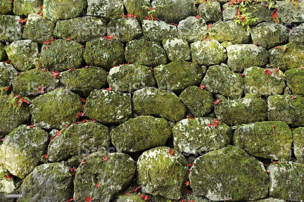 Stone Wall with moss textured royalty-free stock photo