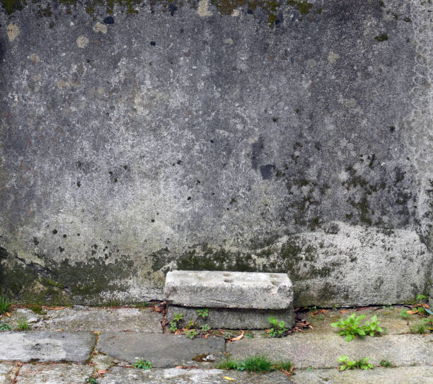 Stone wall with small step. stock photo