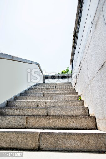 Landscape of stone walls and staircases.