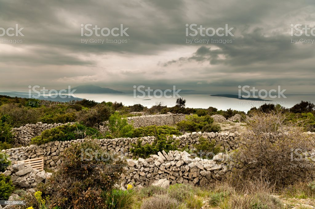 Stone walls near Grmov stock photo