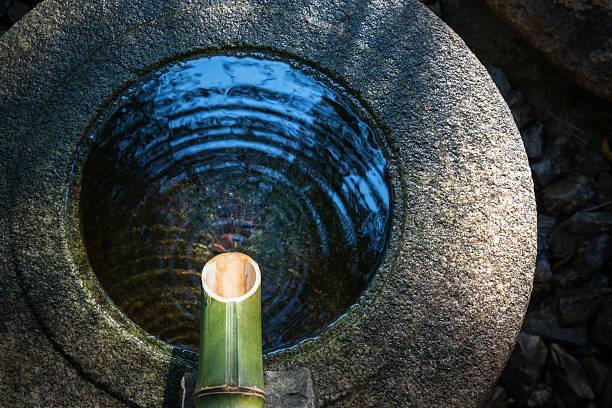 stone wash basin found in japanese garden. - 仏教 ストックフォトと画像