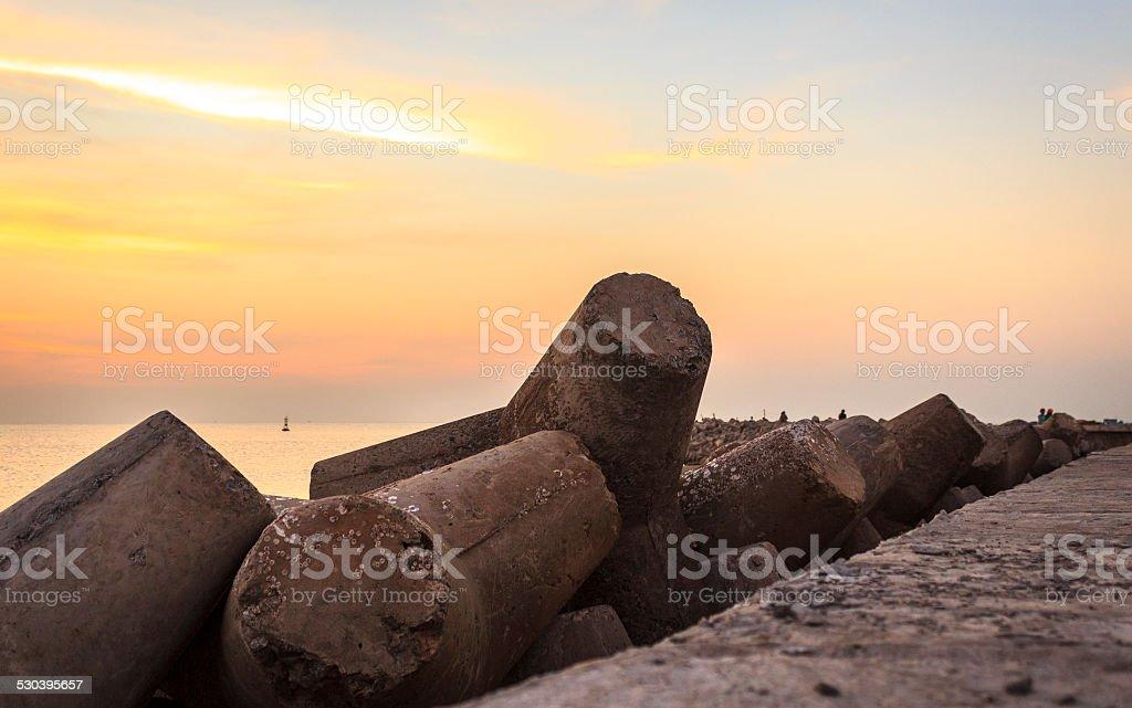 Stone waterbreak stock photo