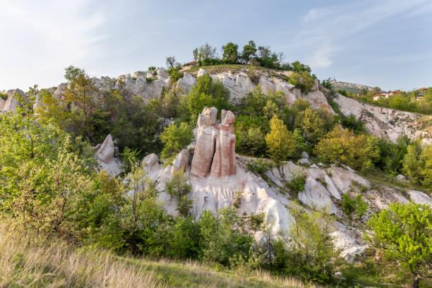 Stone wedding rock phenomenon in Bulgaria stock photo