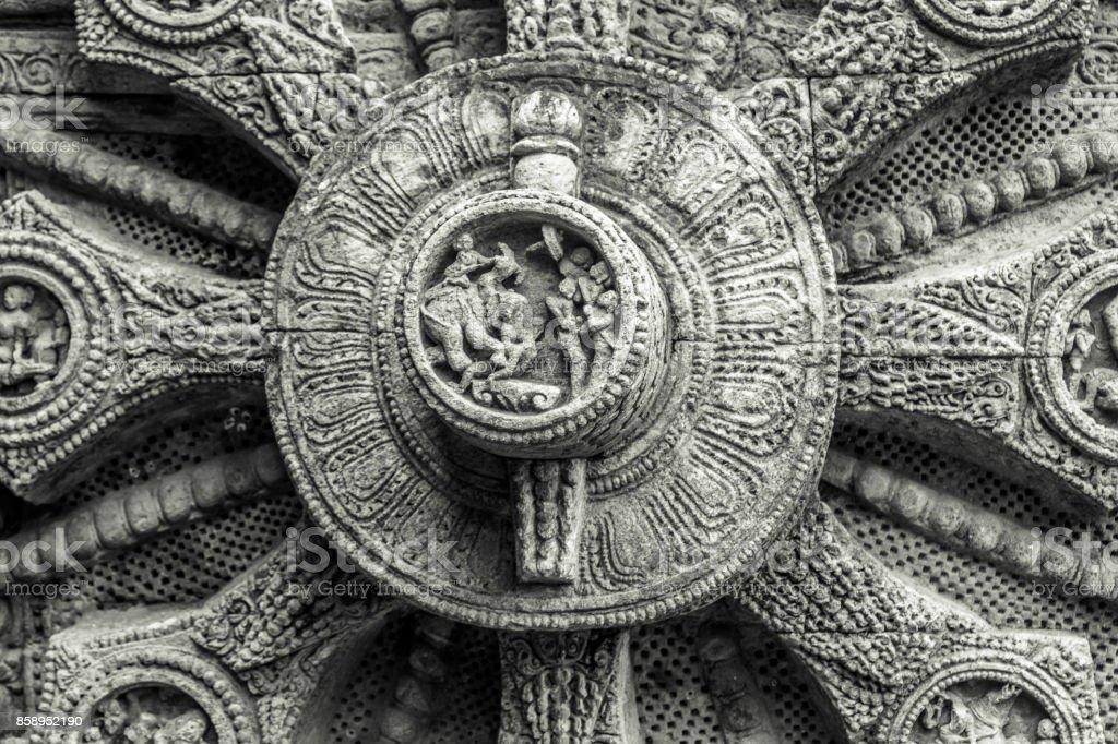 Stone wheel in the ancient  Hindu Sun Temple stock photo