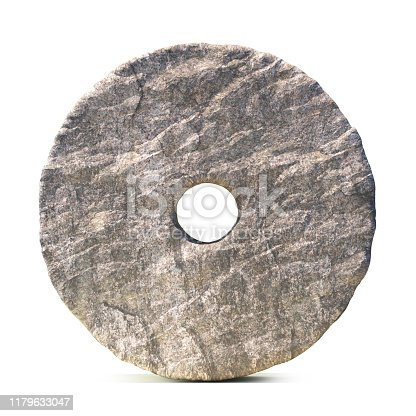 Stone wheel isolated on white background 3d rendering  illustration