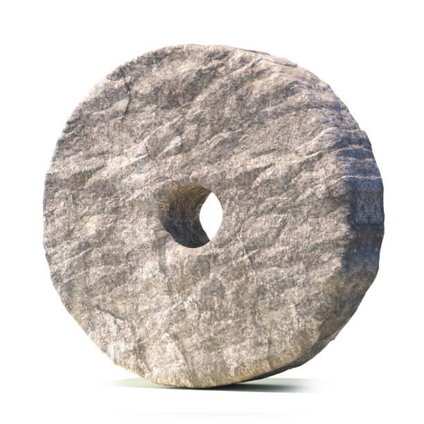 Stone wheel isolated on white background stock photo