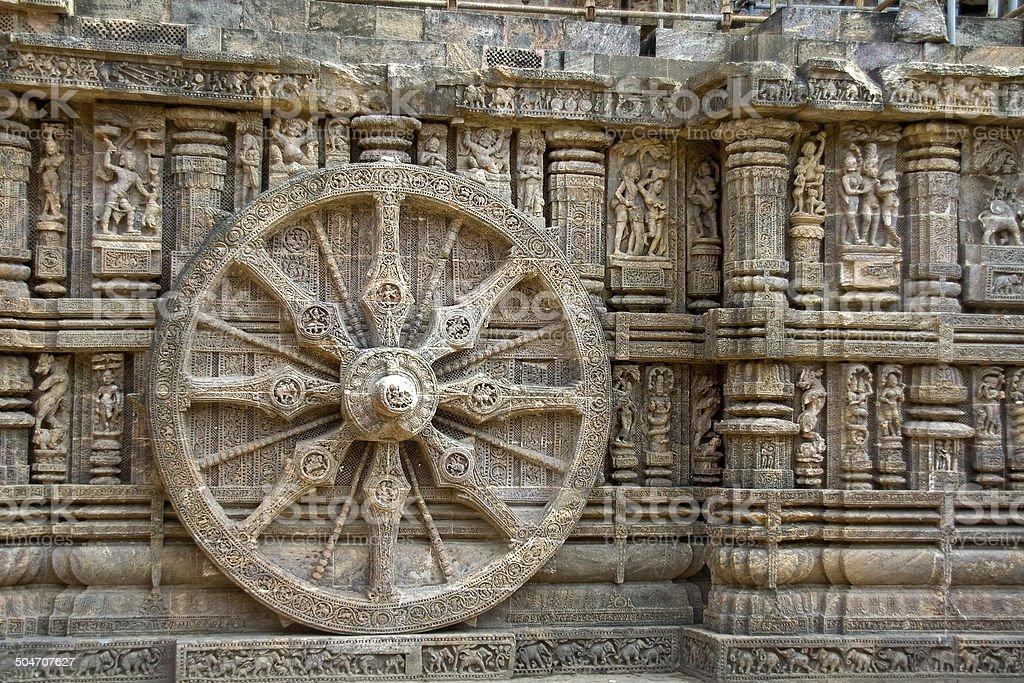 Stone Wheel, Konark stock photo