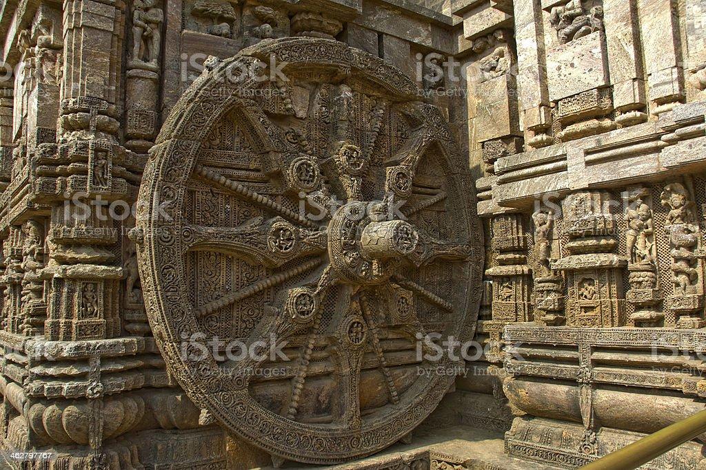 Stone Wheel of Chariot stock photo