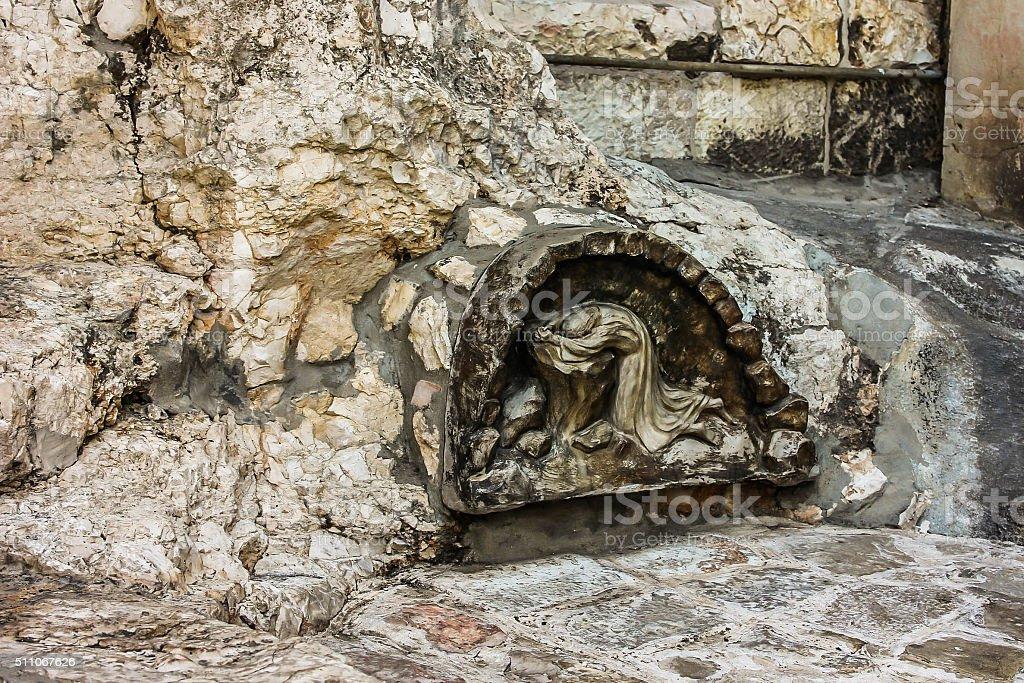 Stone where Jesus prayed stock photo