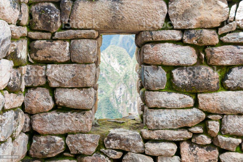 Stone Window At Machu Picchu In Peru stock photo