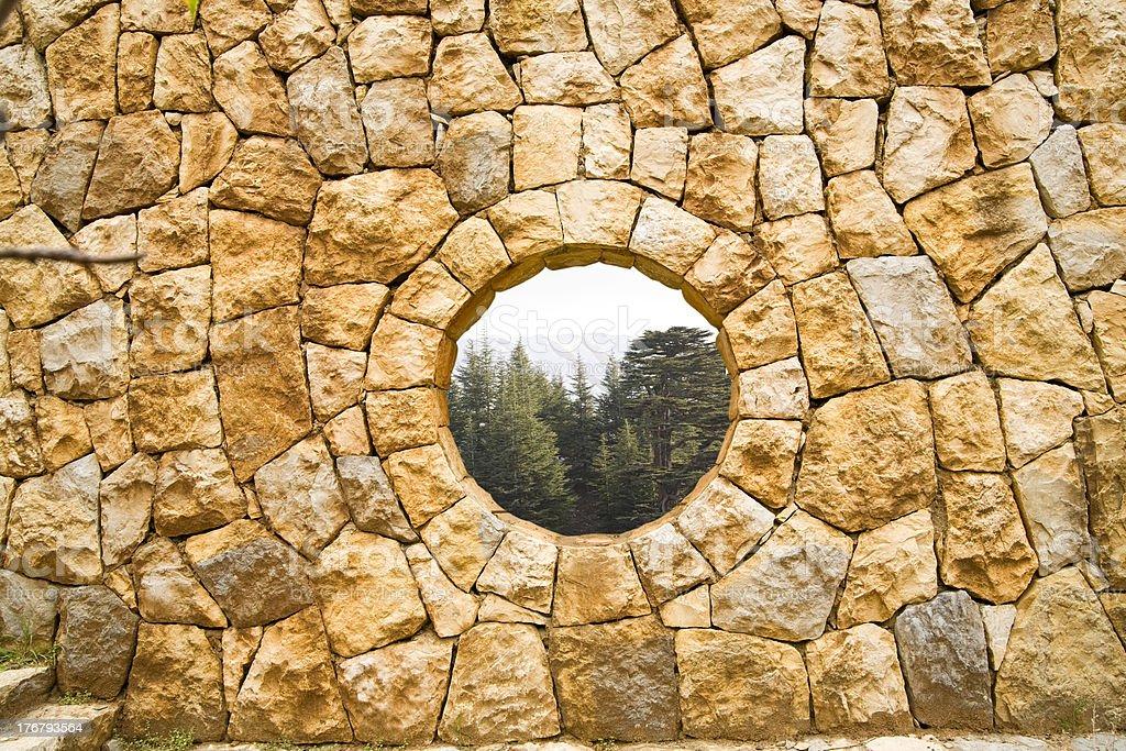 Stone window & cedars of Lebanon stock photo