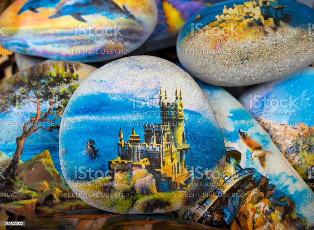 Stone with a picture of the castle 'Swallow's Nest' stock photo