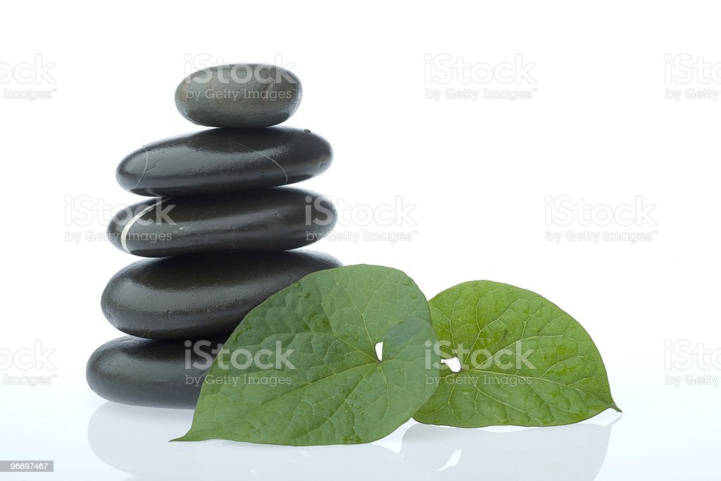 stone with leaf royalty-free stock photo