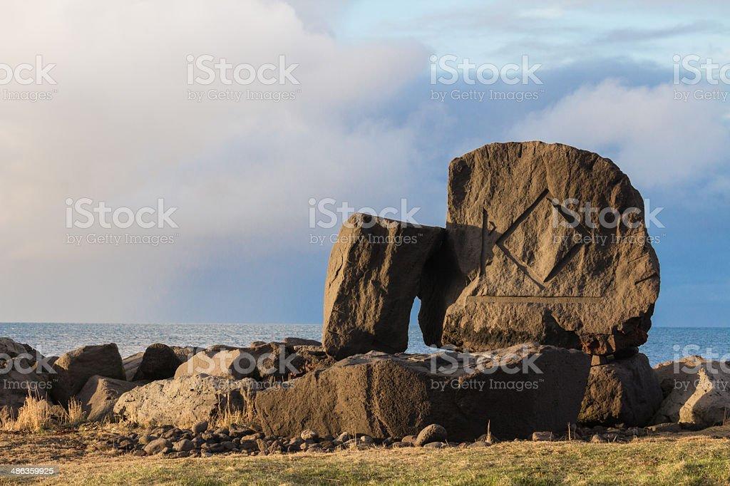 Stone with Runes stock photo