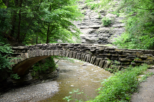 Stone Wood Bridge Connection Connect Join Separate Creek Stream River Together Hike Trail