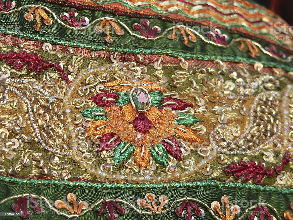 stone work on sari royalty-free stock photo