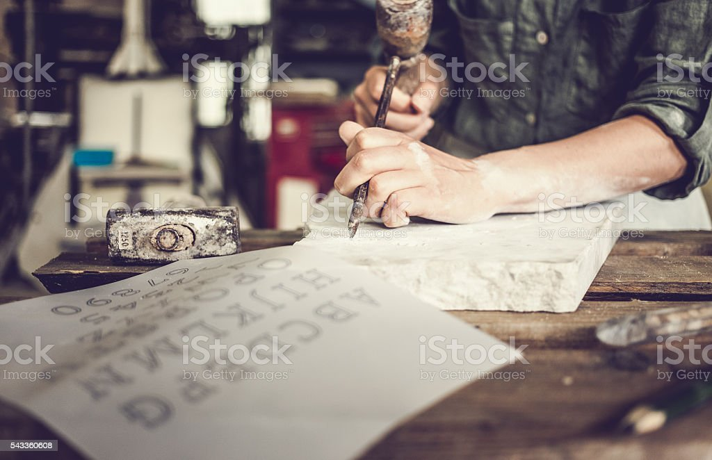 Stonecutter woman portrait stock photo