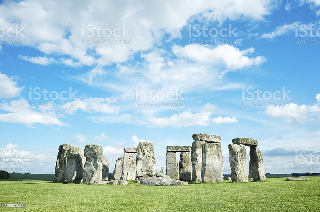 Stonehenge Bright Blue Sky Horizontal royalty-free stock photo