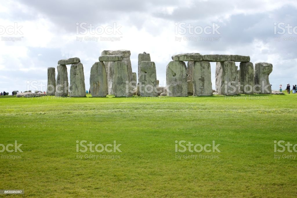 Stonehenge green grass stock photo