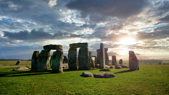 Stonehenge is a prehistoric monument in Wiltshire, England, two miles (3 km) west of Amesbury.