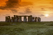 Megaliths of Stonehenge in sunset
