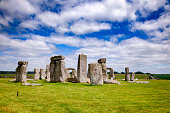 Standing megalith stones of ancient prehistoric monument Stonehenge in Wiltshire, South West England, UK, UNESCO World Heritage Site