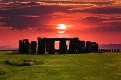 Stonehenge at sunset on winter solstice.