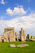 Stonehenge Stone Circle, Wiltshire, England - part of the famous Stonehenge megalithic monument in Wiltshire, England, on a fine spring evening.