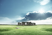 Stone henge with no people and blue sky