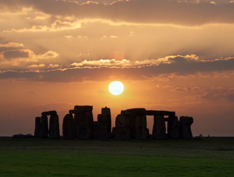 Stonehenge, a prehistoric monument in England. Stonehenge was built anywhere from 3000 BC to 2000 BC.
