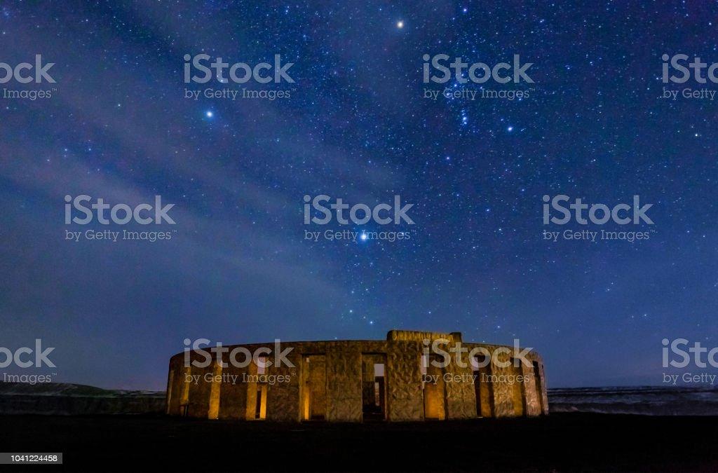 Stonehenge War Memorial At Maryhill At Night With Stars And