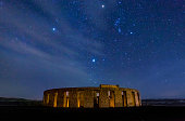 Stonehenge War Memorial at maryhill at night with stars and Orion constellation