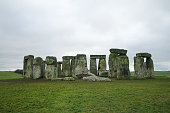 the unique stone circle and world's most famous prehistoric monument with cloudy sky