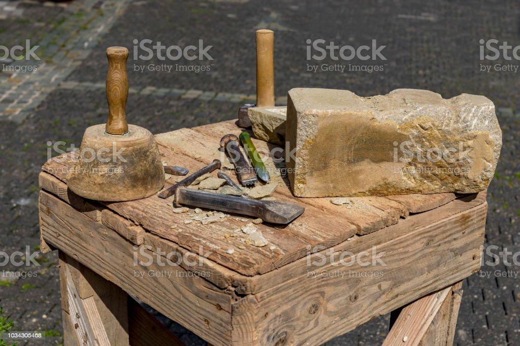 Stonemason Tools Hammer And Chisel Outdoors Stock Photo