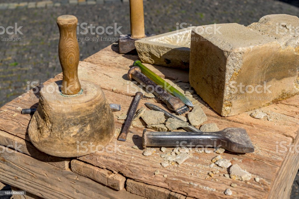 Stonemason Tools Hammer And Chisel Outdoors Stock Photo