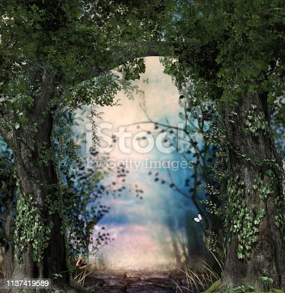 istock Stonepath through a magical lush forest 1137419589