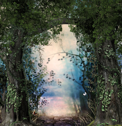 istock Stonepath through a magical lush forest 1137419589