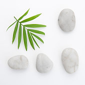 stones, bamboo,white background