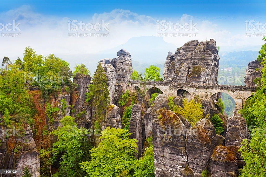 Stones and Bastei bridge in Sachsische Schweiz stock photo