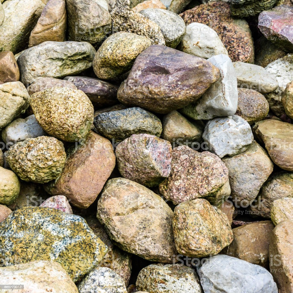 Stones and boulders from Scandinavia on a large heap stock photo