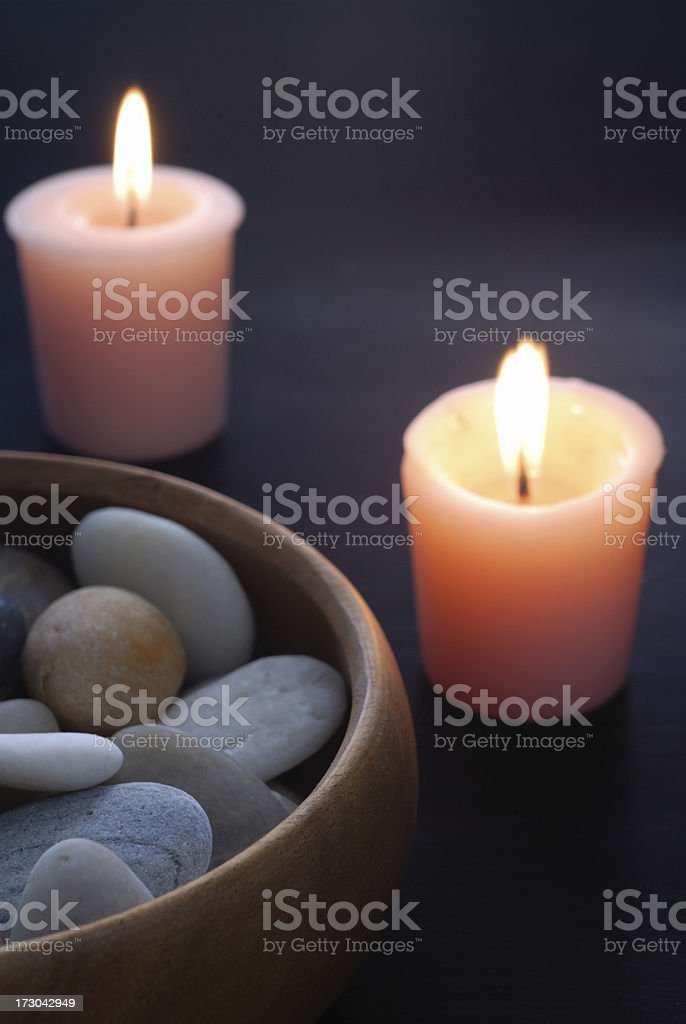 Stones and Candles royalty-free stock photo