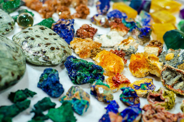 Stones and minerals  for sale in the store. stock photo