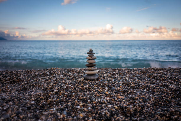 Stones at Hualien Beach in Taiwan stock photo