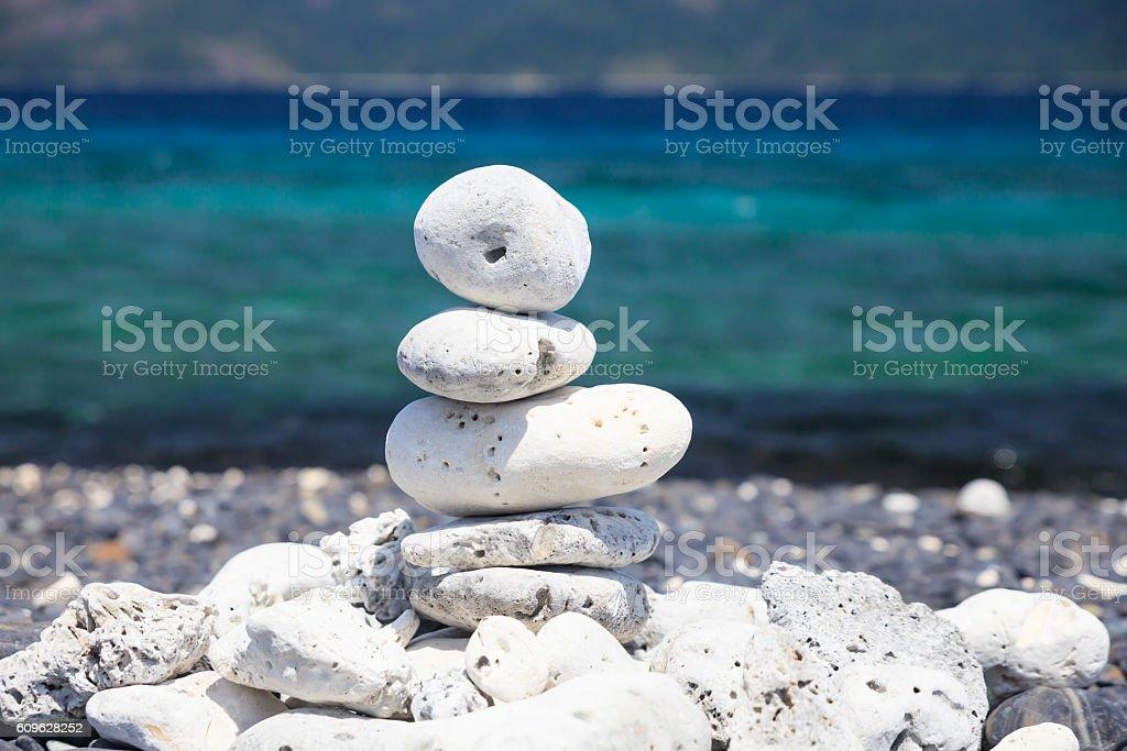 Stones balance on the beach. stock photo